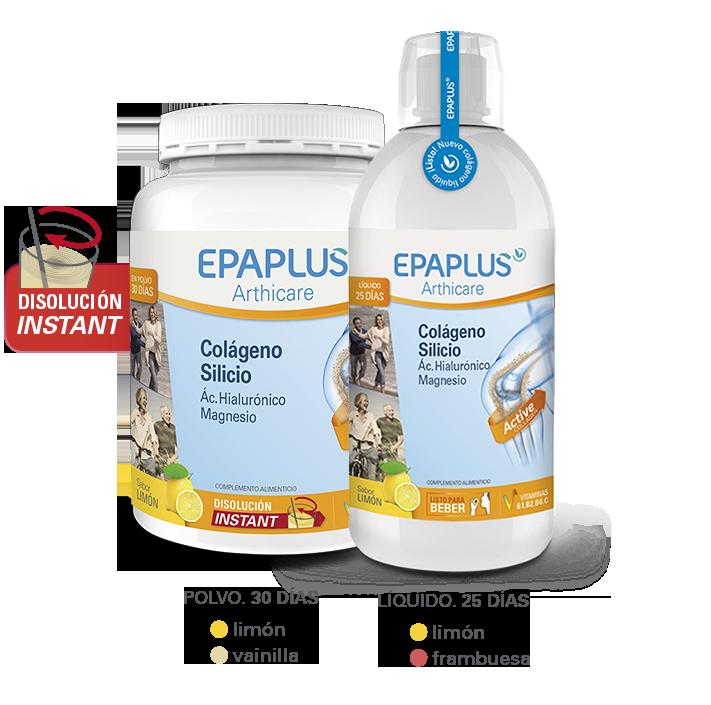 Epaplus actúa favorablemente en el cartílago articular, favorece unas articulaciones más fuertes y saludables conejercicio físico moderado Complemento alimenticio Epaplus Athicare con colágeno, ácido hialurónico y magnesio que contribuye al funcionamiento de los huesos y músculos