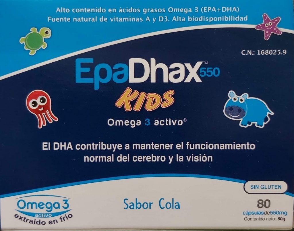 Comprar EpaDhax Kids en Gran Farmacia Andorra Online con alto contenido en ácidos grasos Omega 3 extraídos de forma 100% natural fuente natural de vitaminas A y D3