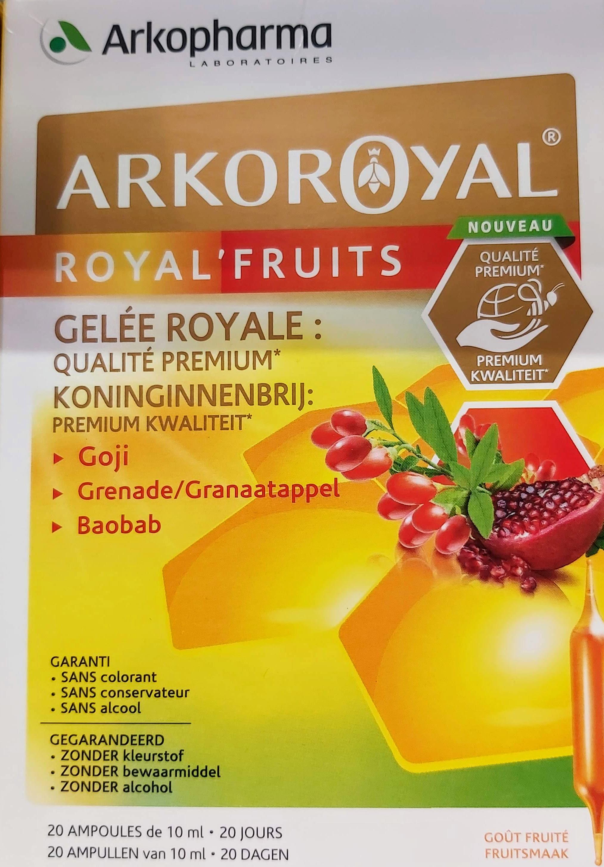 Comprar Arkoreal® Royal Fruits en Gran Farmacia Andorra jalea real de primera calidad con efecto reconstituyente Bayas de goji granada y baobab