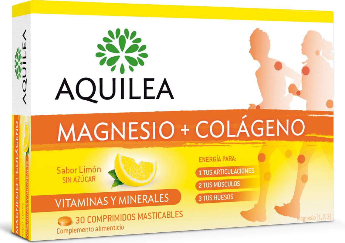 Aquilea Articulaciones Colágeno+Magnesio contiene Colágeno, Ácido hialurónico, Magnesio y Vitamina C que contribuye a la normal formación del colágeno para el funcionamiento normal del cartílago, lo que contribuye al bienestar de las articulaciones.