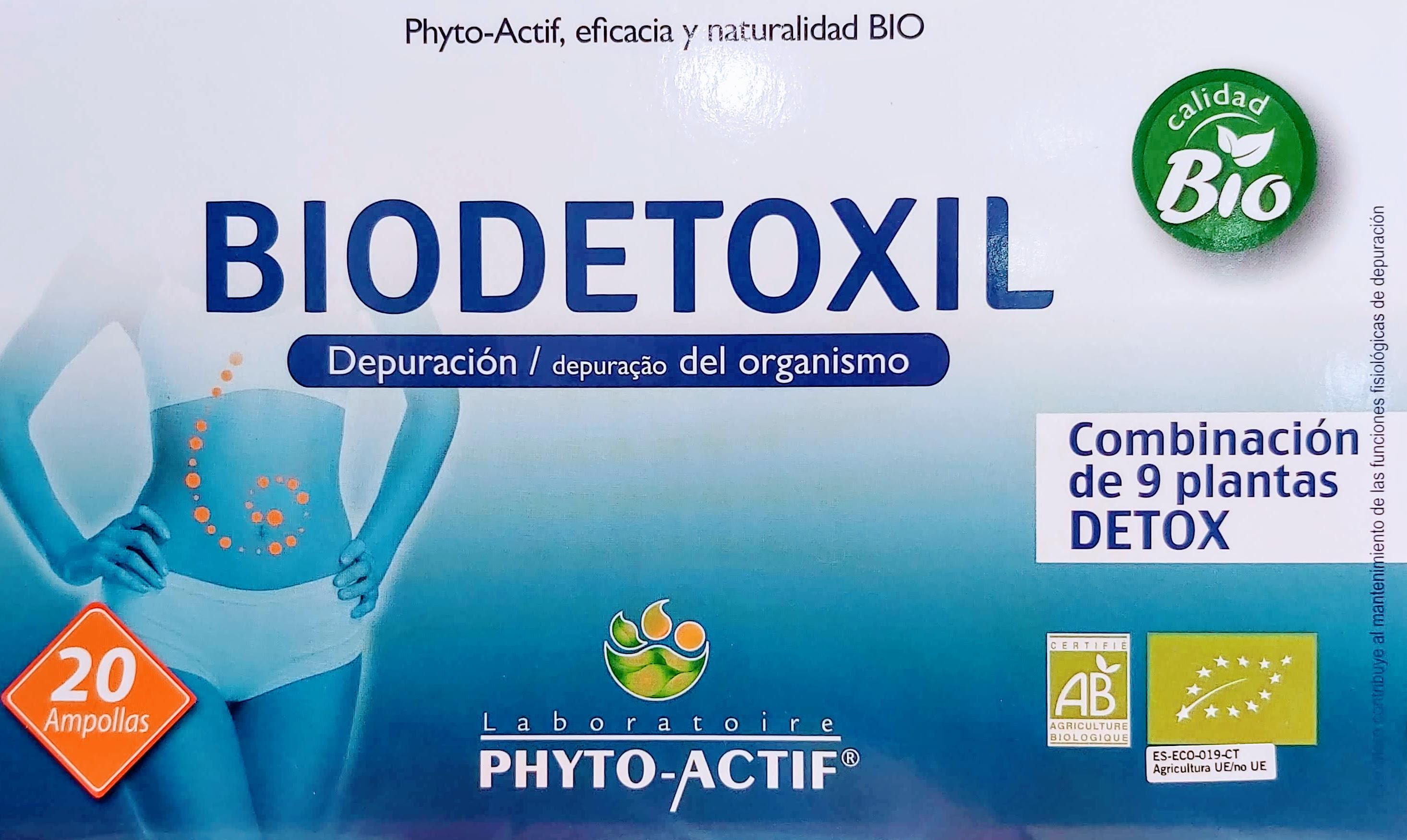 Comprar Biodetoxil Phyto-Actif Depuración del Organismo extractos de romero, fumaria, bardana, casis, té verde, uva roja, gel de aloe, extractos de hojas y raíz de diente de león el romero contribuye al mantenimiento de las funciones fisiológicas de depuración