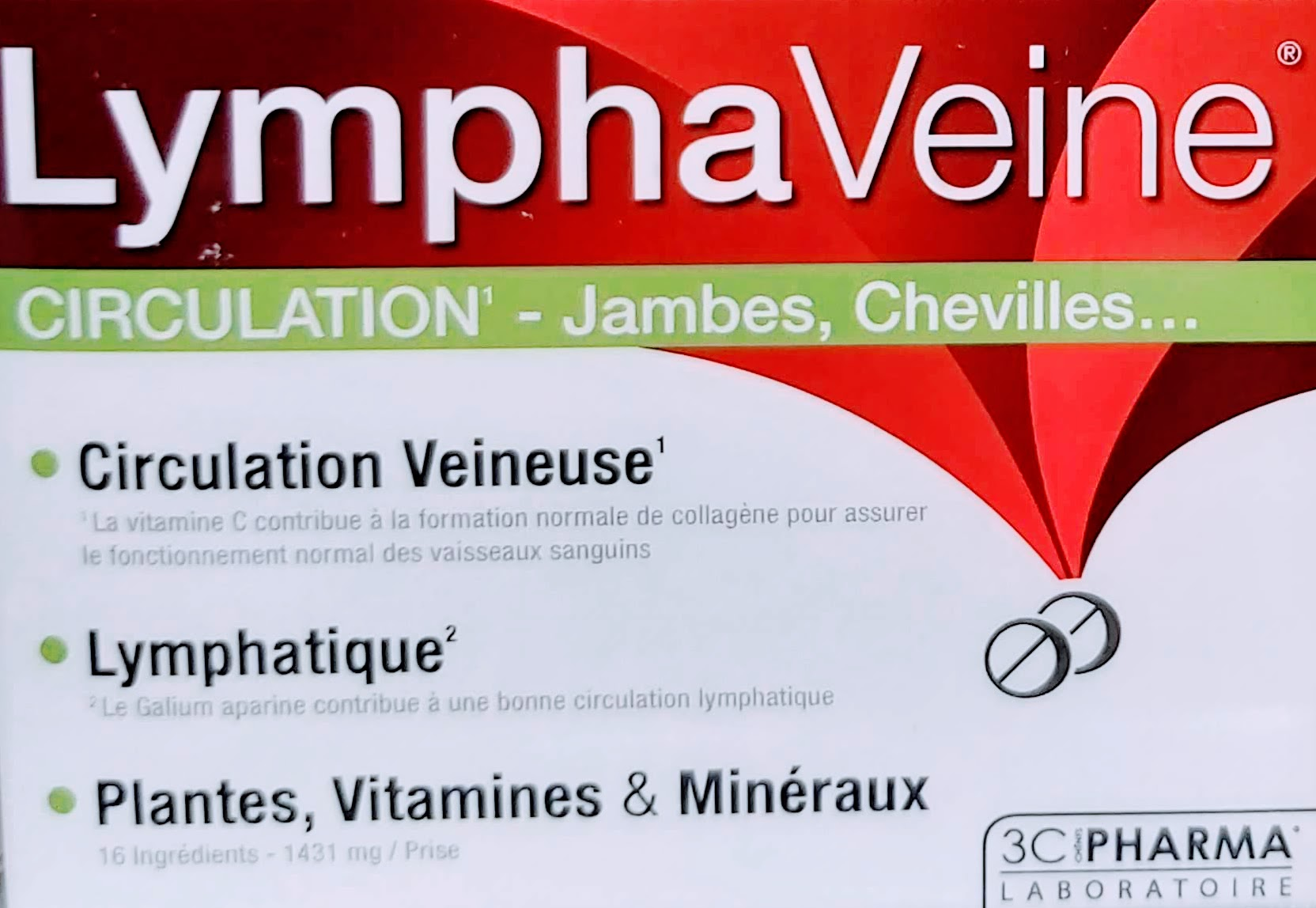 Comprar 3C PHARMA LYMPHAVEINE 60 COMPRIMIDOS Circulación piernas tobillos mejorar la Circulación venosa el galium aparina contribuye a mejorar la circulación linfática