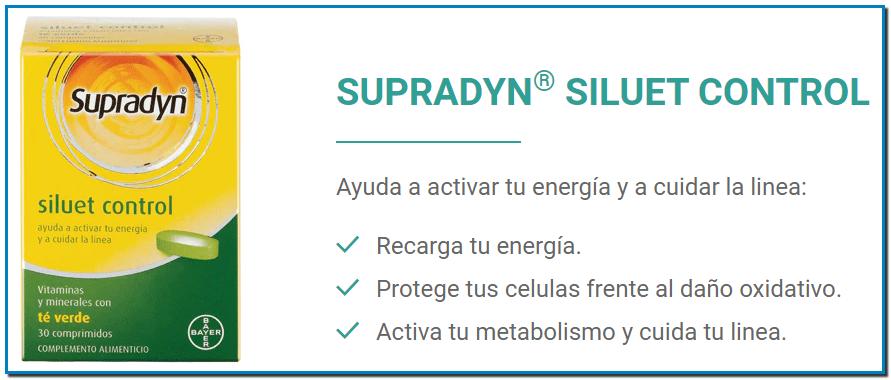 SUPRADYN® SILUET CONTROL Ayuda a activar tu energía y a cuidar la linea: Recarga tu energía. Protege tus celulas frente al daño oxidativo. Activa tu metabolismo y cuida tu linea. COMPRAR