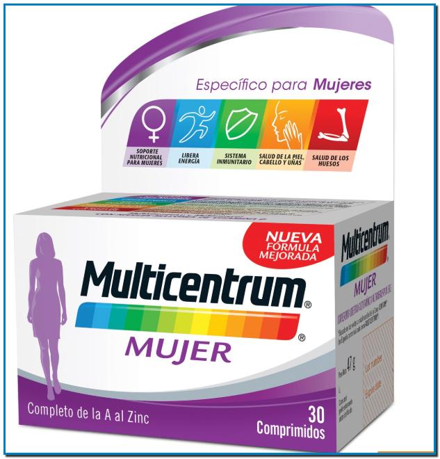 Multicentrum Mujer +50 y Multicentrum Mujer para mujeres mayores de 50 años que aporta un extra de vitaminas y minerales Contiene Vitamina B6 Vitamina B12 Vitamina C y Vitamina D.