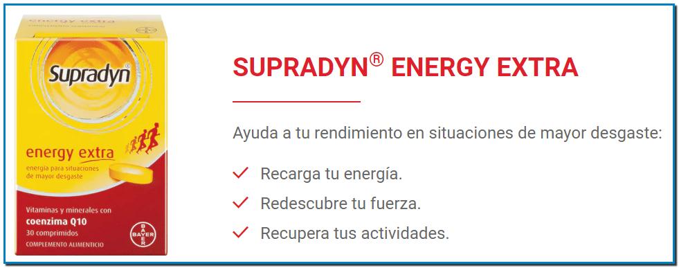 SUPRADYN® ENERGY EXTRA Ayuda a tu rendimiento en situaciones de mayor desgaste: Recarga tu energía. Redescubre tu fuerza. Recupera tus actividades.