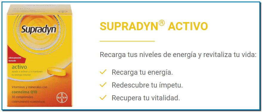 SUPRADYN® ACTIVO Recarga tus niveles de energía y revitaliza tu vida: Recarga tu energía. Redescubre tu ímpetu. Recupera tu vitalidad.