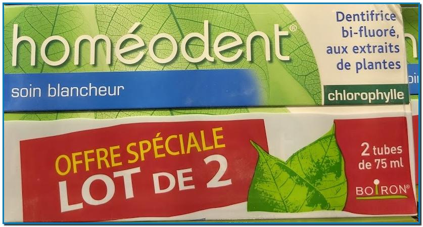 HOMEODENT Soin Blancheur Dentifrice Bi-fluoré Aux plantes Sans paraben Chlorophylle étude clinique a démontré l'efficacité d'Homéodent