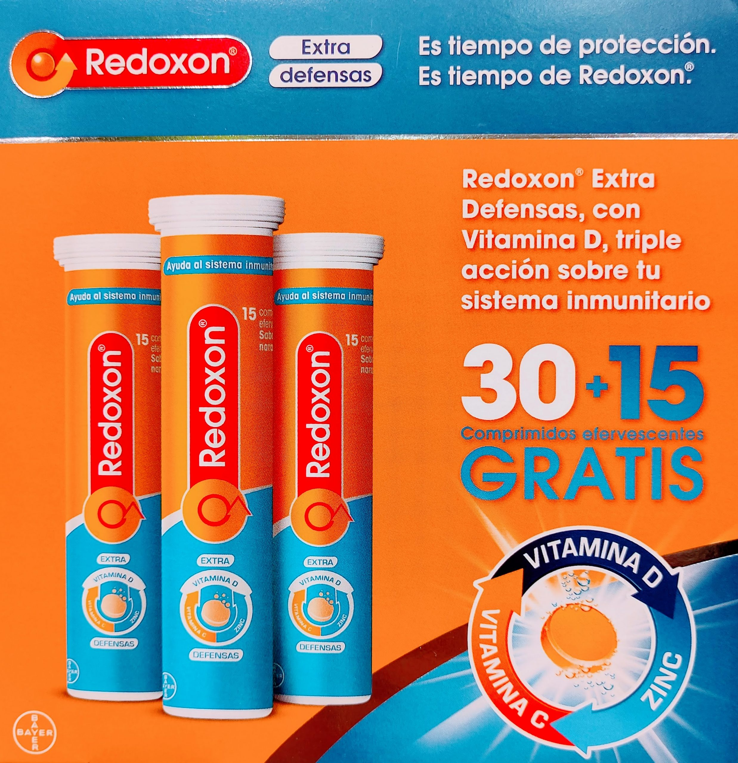 Redoxon Extra Defensas que combina Vitamina D, Vitamina C y Zinc para mejorar los tres niveles de defensa naturales del ser humano.