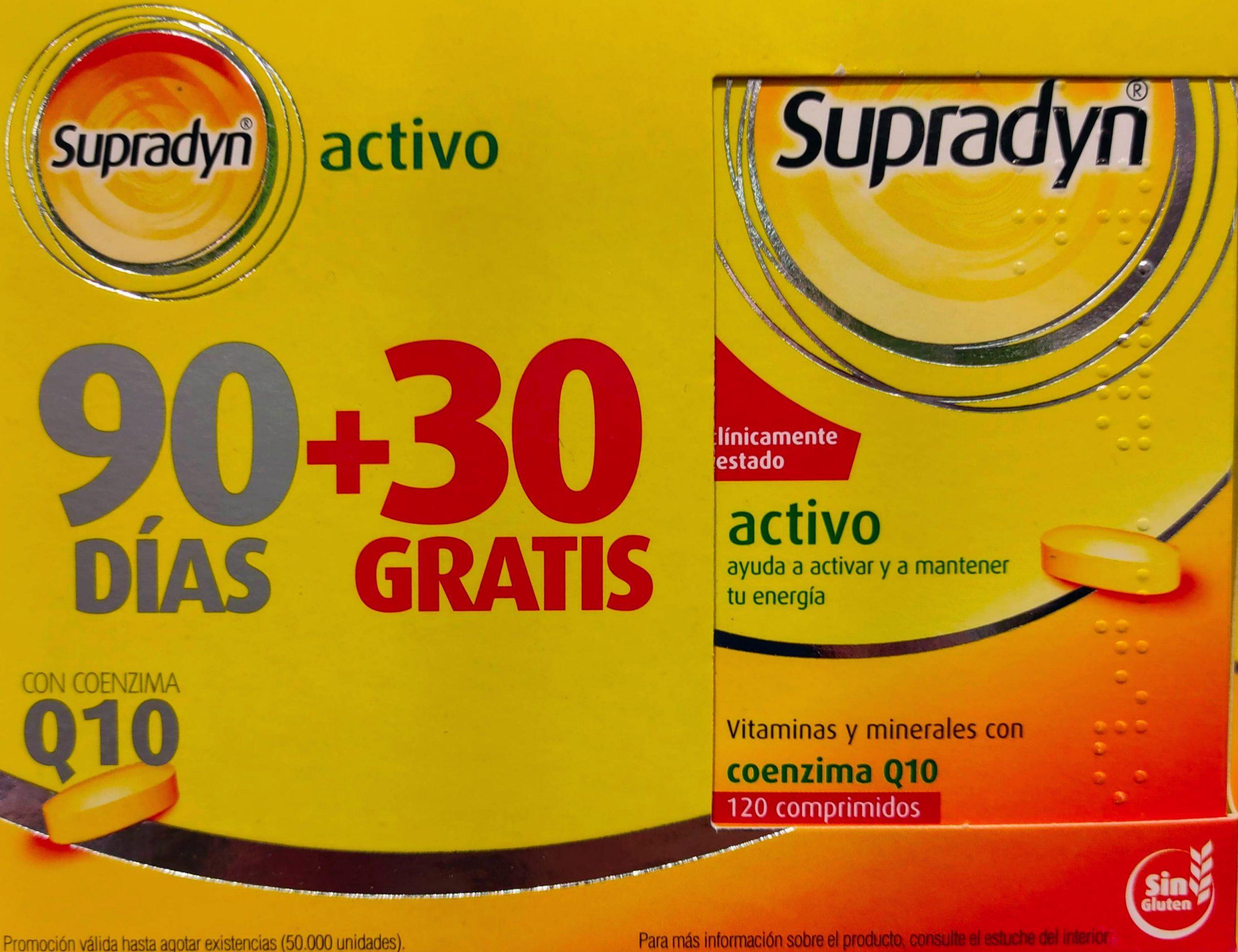 COMPRAR SUPRADYN ACTIVO 90 + 30 Q10 Supradyn es un complejo vitamínico, con minerales y CoenzimaQ10 que colaboran a que puedas realizar las actividades del día a día con energía y vitalidad.
