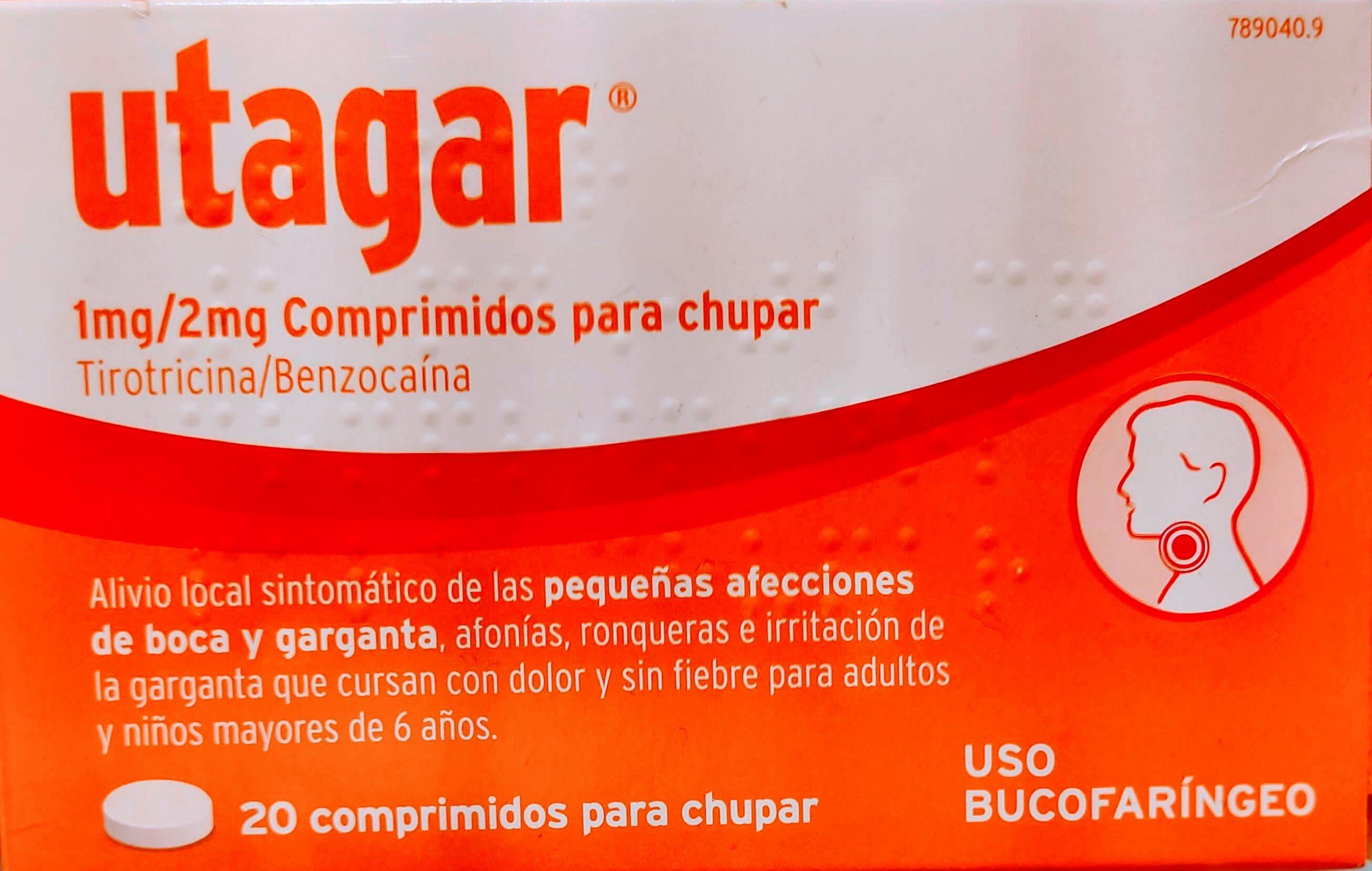 Comprar UTAGARCOMPRIMIDOS son unos comprimidos para chupar para las infecciones leves de boca y garganta Válidos también para la afonía y el picor de garganta.