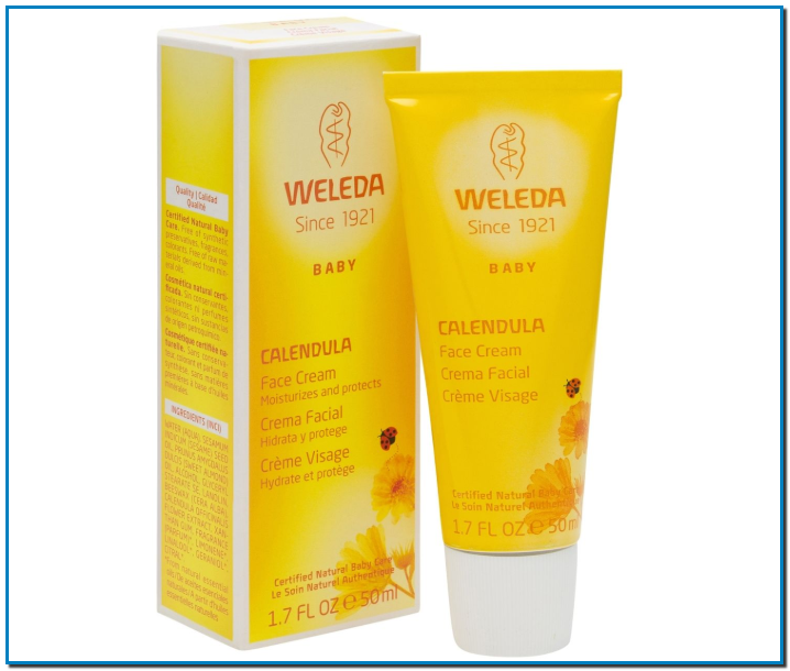 Crema facial elaborada a base de ingredientes naturales que protege el rostro del bebé contra las influencias ambientales (viento, polución, frío).