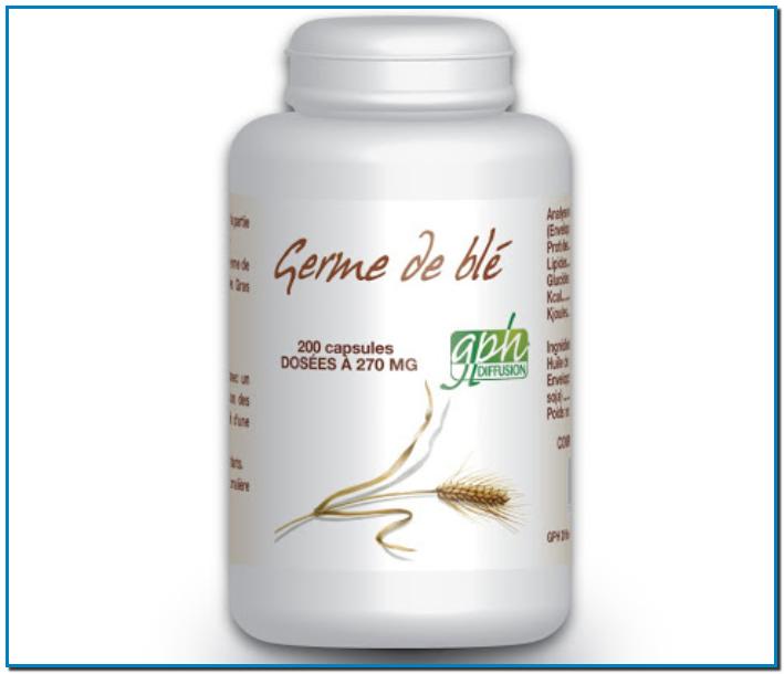 GPH DIFFUSION GERME DE BLÉ la plus concentrée éléments nutritionnels du blé Phosphore potassium fer manganèse magnésium zinc sélénium vitamines A B1 B2 B3 B6 B9 et E