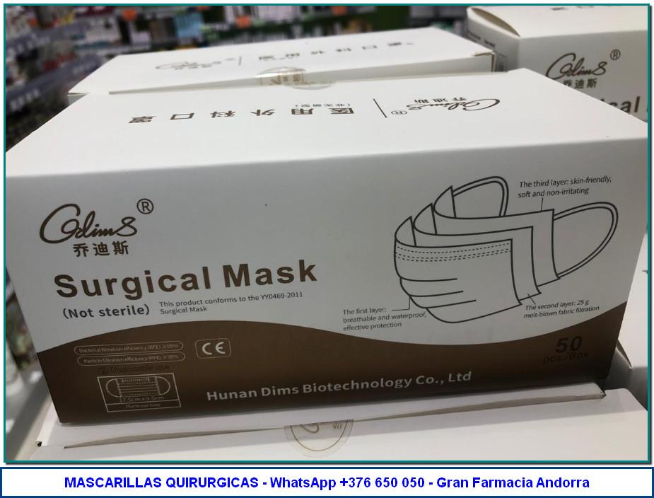 Comprar Mascarilla Quirúrgica. Mascarilla de 3 capas hipoalergénica. De un solo uso. Con tira nasal moldeable, y gomas elásticas para un ajuste perfecto.
