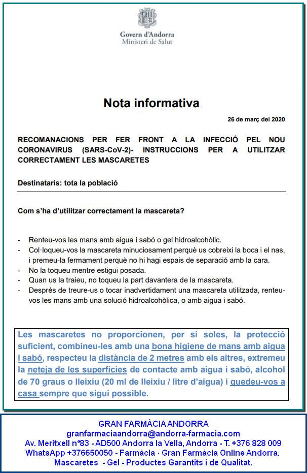 RECOMANACIONS PER FER FRONT A LA INFECCIÓ PEL NOU CORONAVIRUS (SARS-CoV-2)- INSTRUCCIONS PER A UTILITZAR CORRECTAMENT LES MASCARETES