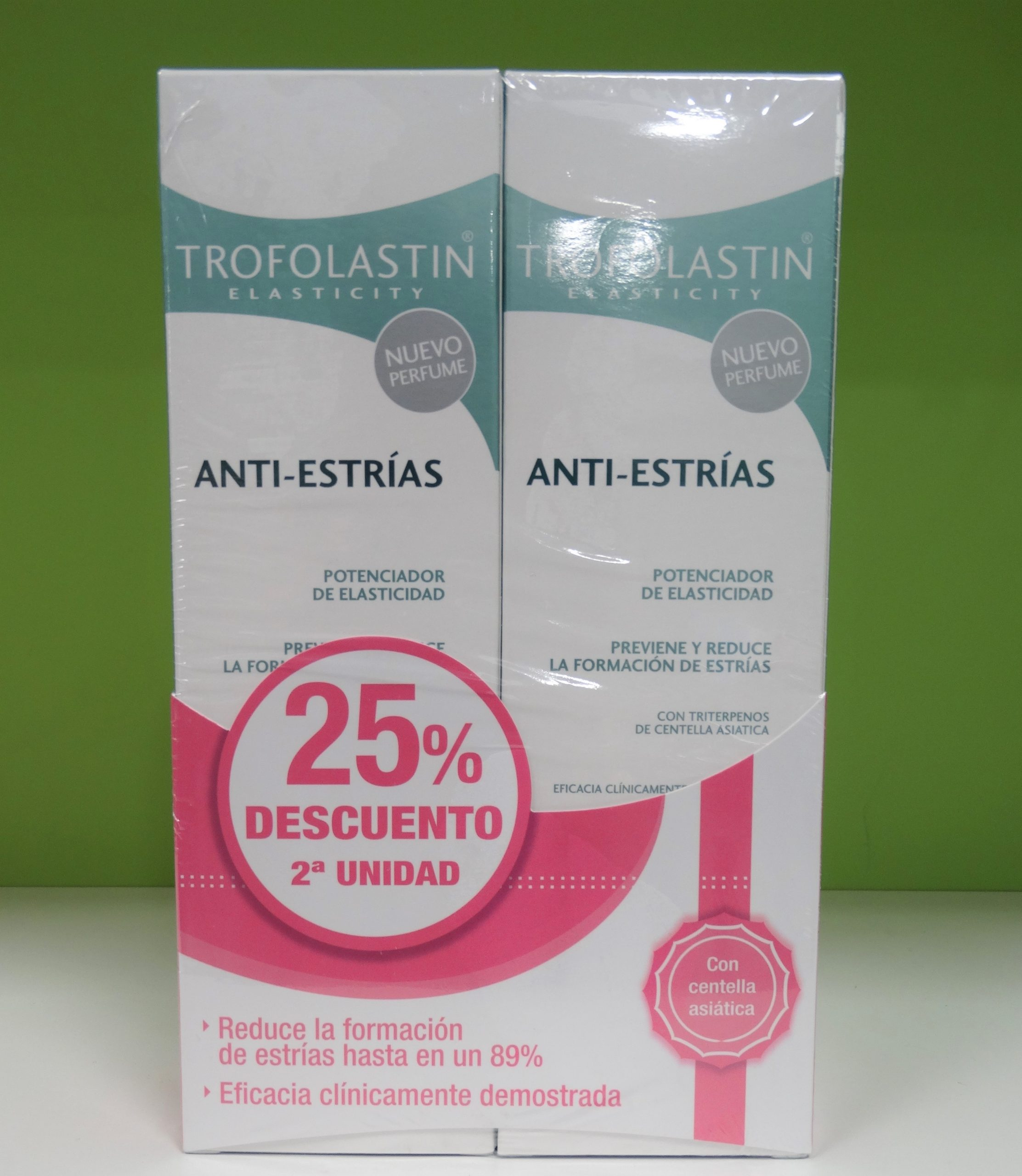 Trofolastín Anti-Estrías es una crema anti-estrías con estudio de eficacia en embarazadas y que se ha comprobado que previene la formación de estrías en hasta un 89%