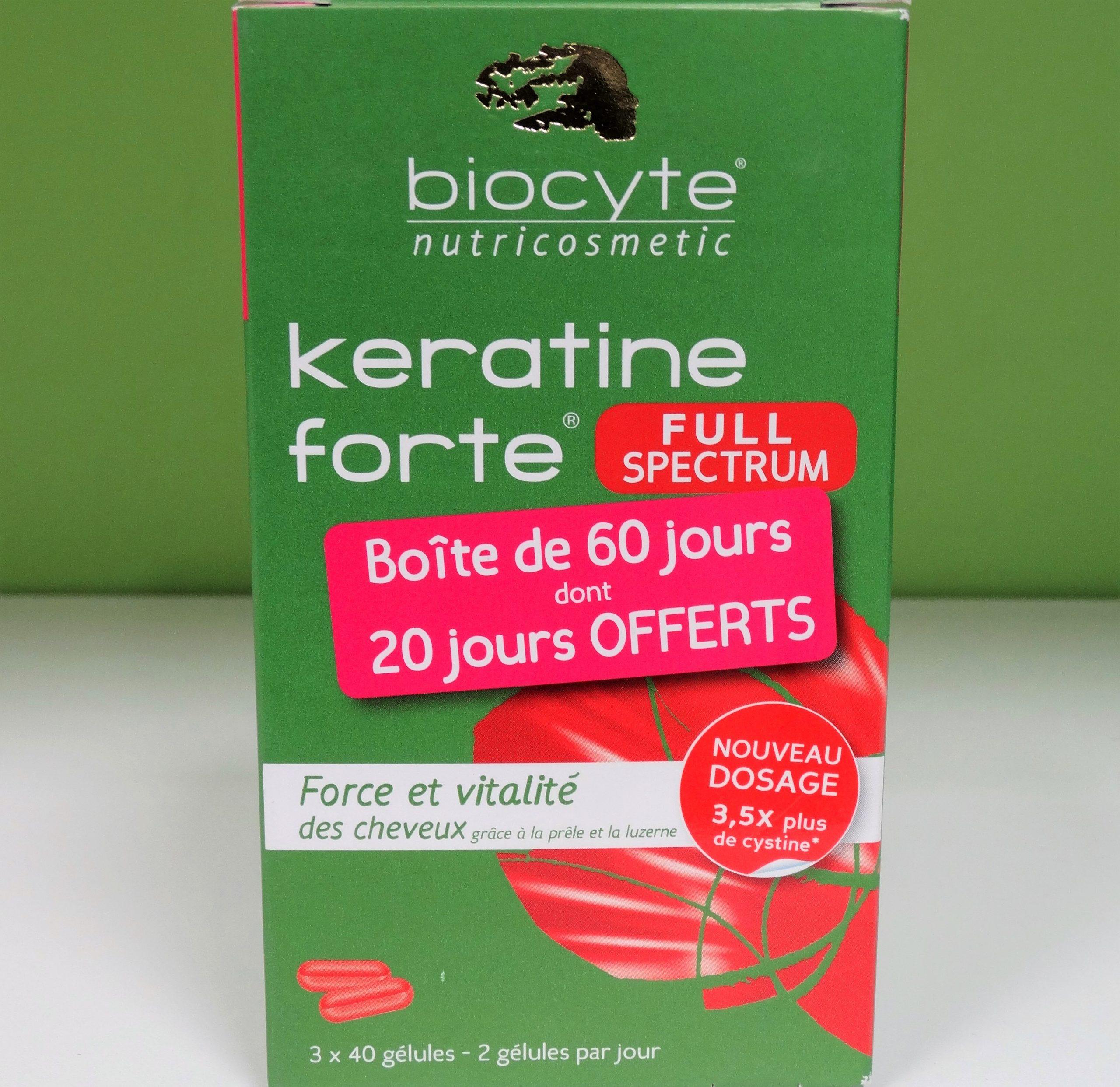Biocyte Keratine Forte 40 cápsulasKeratine forte refuerza la masa capilar, aporta elasticidad y flexibilidad, aumenta el volumen y brillo del pelo.