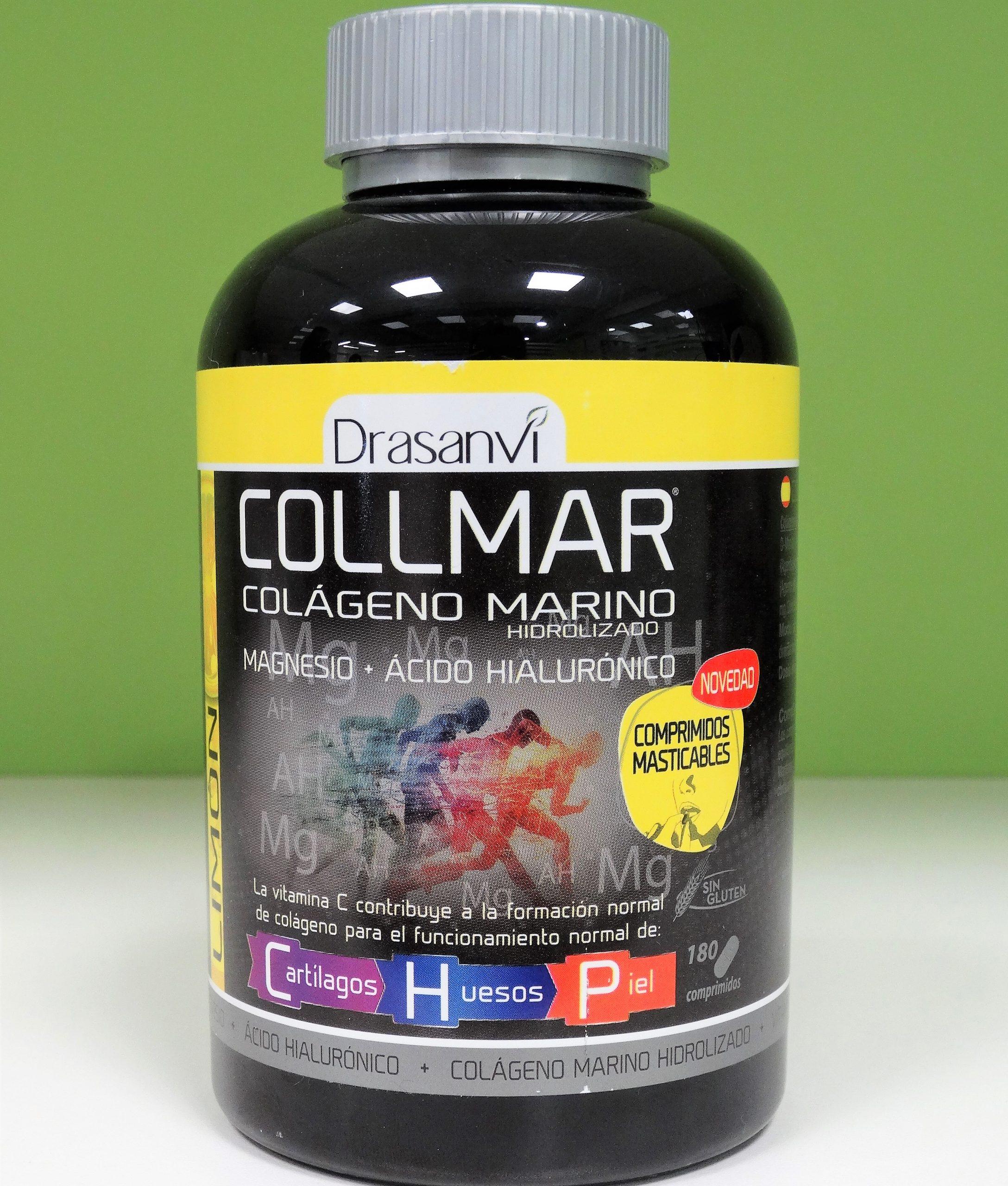 Los comprimidos de Collmar Colageno Marino de Drasanvi incorporan en su composición Colágeno Marino Hidrolizado enzimáticamente, Ácido Hialurónico, Magnesio, Calcio y Vitamina C.