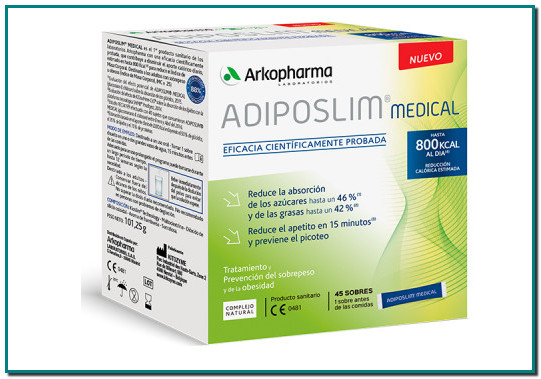 ADIPOSLIM® MEDICAL CONTROL DE PESO CONTROL DE PESO - ELIMINACIÓN DE LÍQUIDOS 1er producto sanitario de los laboratorios Arkopharma con una eficacia científicamente probada, que contribuye a disminuir el aporte calórico diario.
