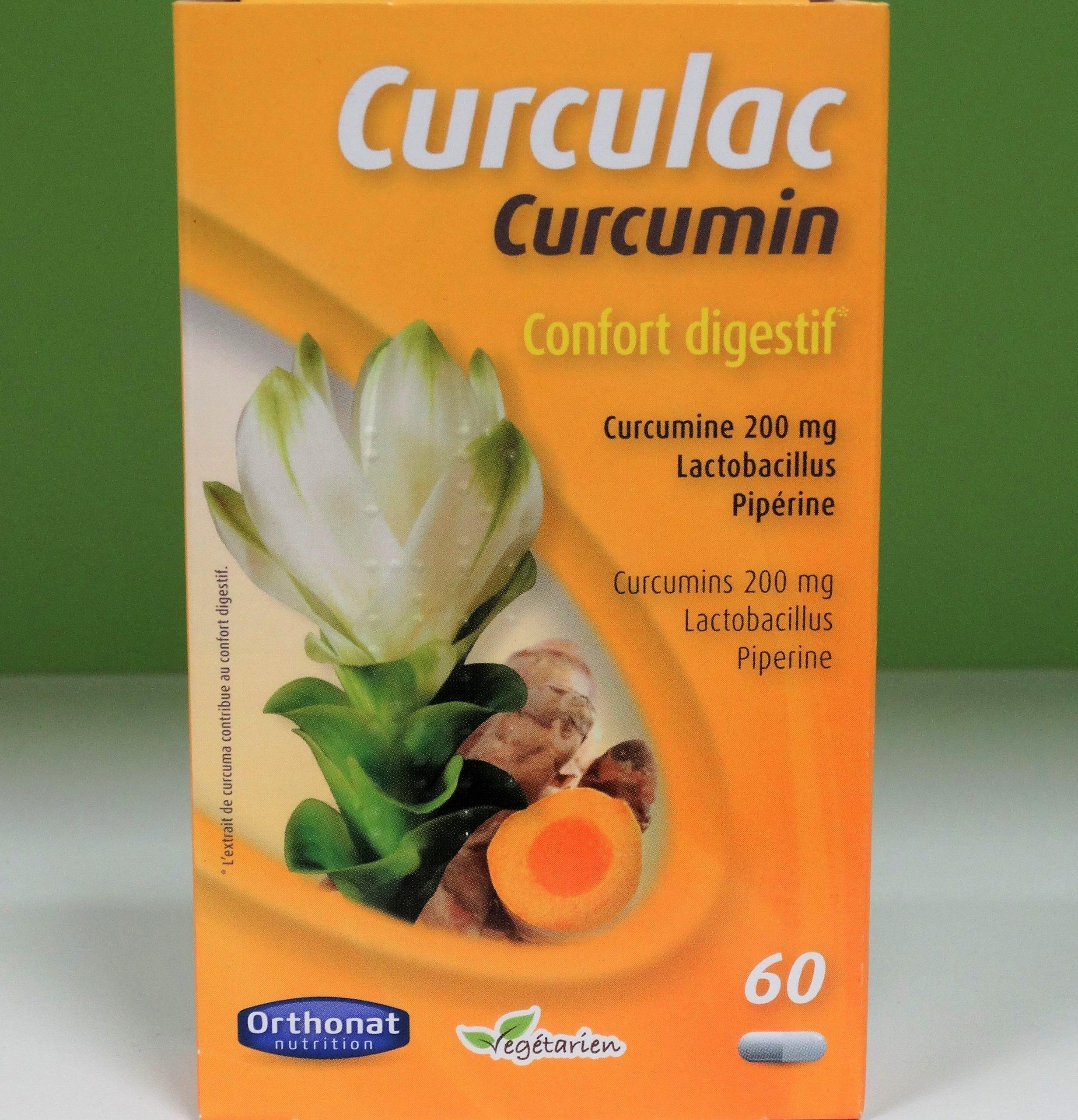 CURCULAC CÚRCUMA ORTHONAT– 236 mg extracto seco estandarizado de rizomas de Cúrcuma Longa L, equivalentes a 8,3 gr de raíz, (35:1) que contienen 200,6 mg de curcuminoides con una importante biodisponibilidad.