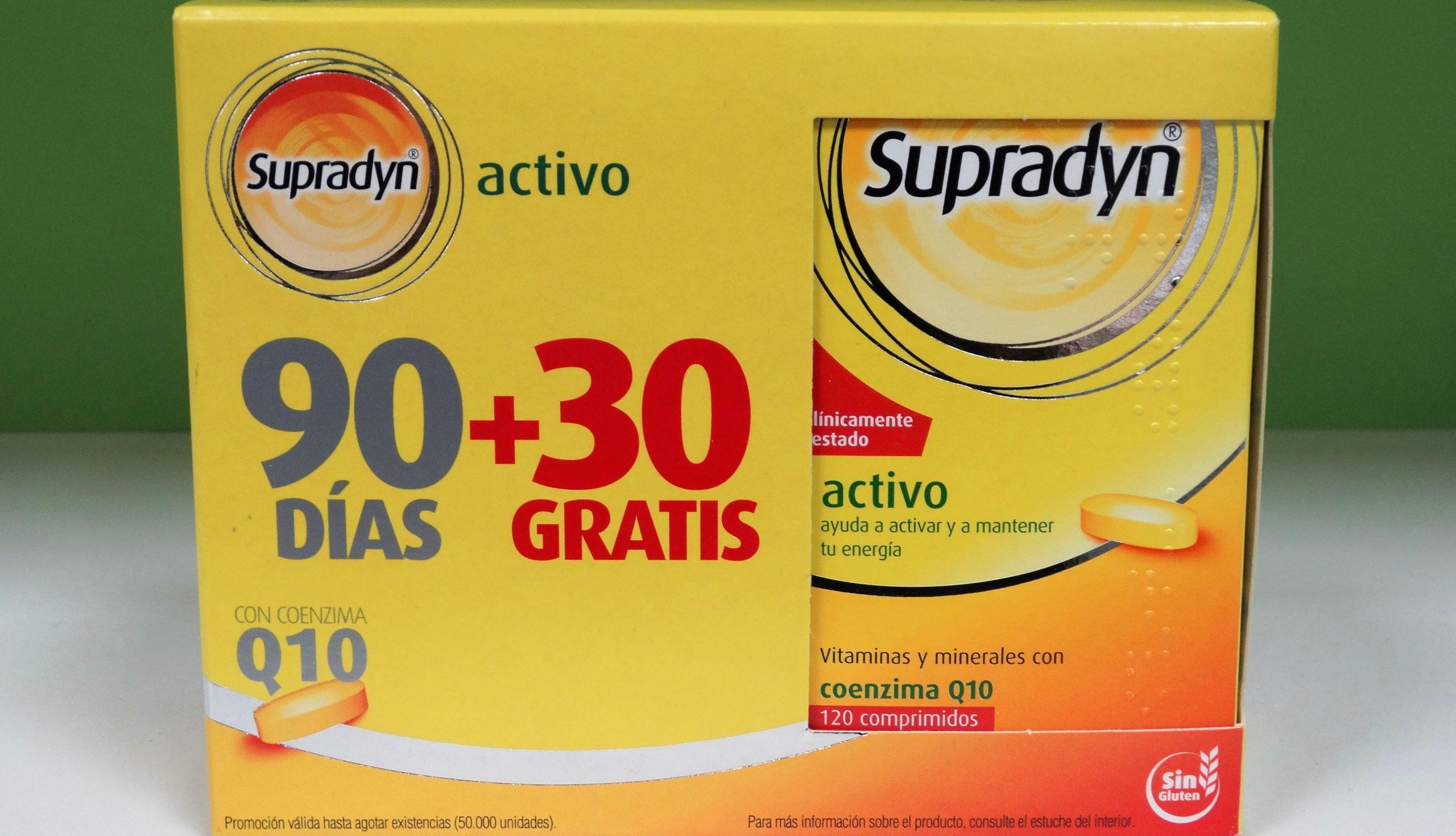 Supradyn® Activo es un multivitamínico con minerales que, complementando tu dieta habitual, ayuda a activar y mantener tu energía y vitalidad durante todo el día. Contiene coenzima Q10, un componente natural en el organismo.