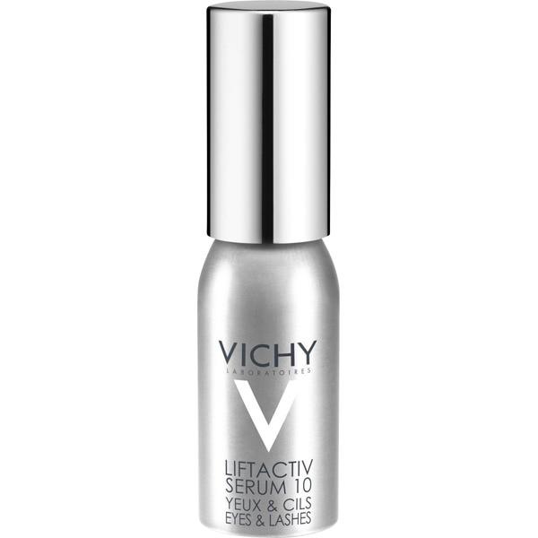 VICHY LIFTACTIV Serum 10 para ojos y pestañas frasco. Textura serum-luminosidad fresca y fundente.