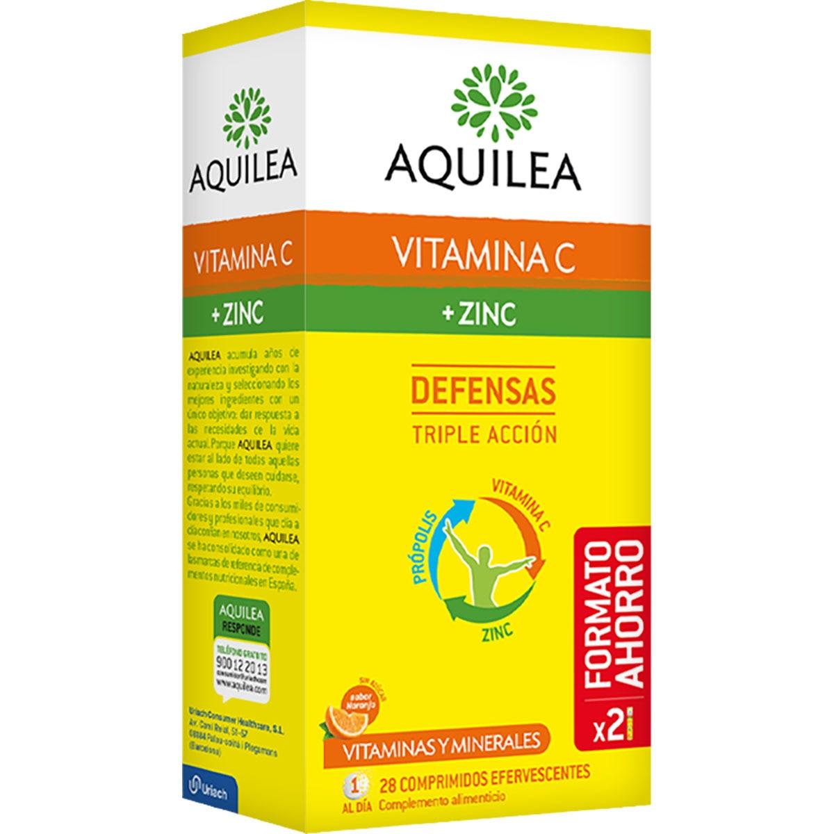 AQUILEA Vitamina C + Zinc complejo vitamínico que ayuda a cuidar las defensas naturales 28 comprimidos efervescentes sabor naranja