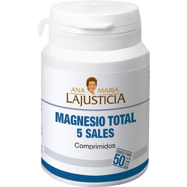 ANA MARIA LAJUSTICIA Magnesio total 5 sales contribuye al funcionamiento del sistema nervioso y de los músculos bote 100 comprimidos para 50 días