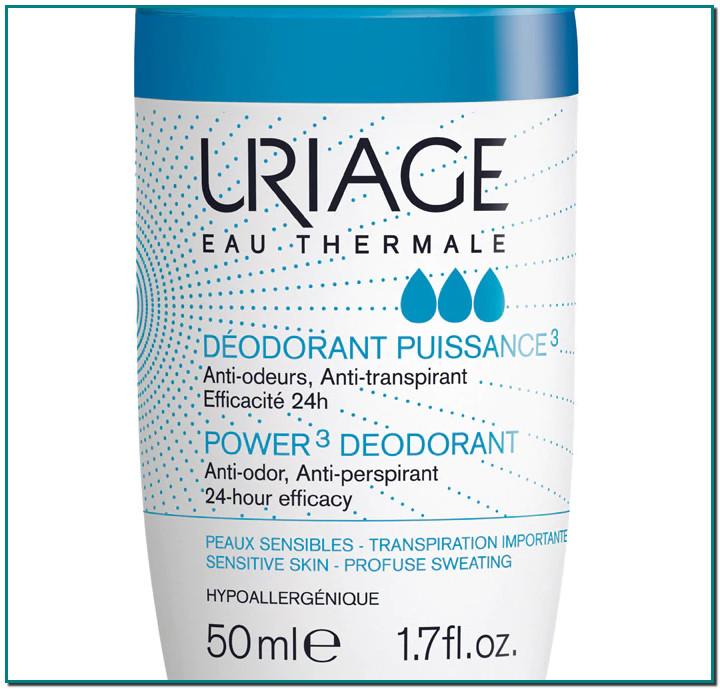 Uriage Eau Thermale Desodorante Triple Acción, eficacia de 24 a 48 horas. Alta tolerancia: hipoalergénico, no-comedogénico, sin alcohol, sin parabenos. Perfume fresco y sutil.