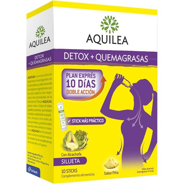 AQUILEA Detox + Quemagrasas plan exprés 10 días doble acción con alcachofa caja 10 sticks bebibles sabor piña