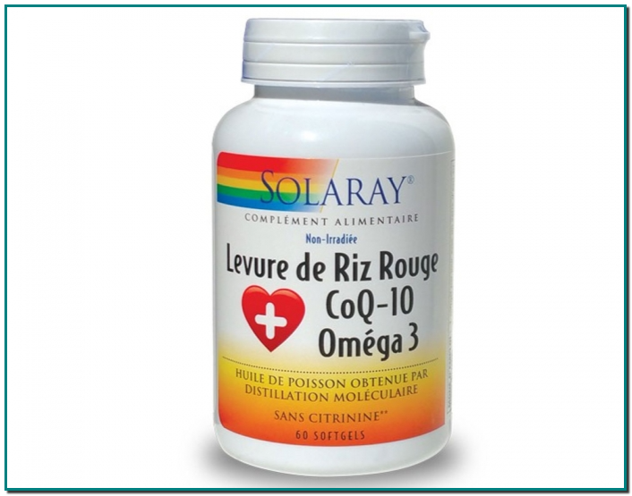 LEVURE DE RIZ ROUGE COQ-10 OMEGA 3 - 60 CAPSULES SOLARAY