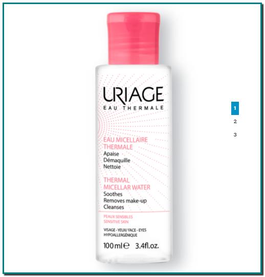 AGUA MICELAR TERMAL AGUA MICELAR LIMPIADORA(Cuidados para pieles sensibles) Previene la sequedad cutánea. Enriquecida con Agua Termal de Uriage hidratante