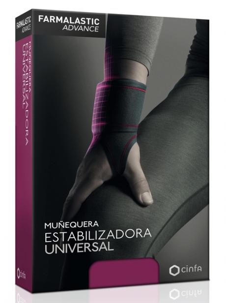 MUÑEQUERA ESTABILIZADORA UNIVERSAL Para aliviar el dolor de muñeca y la pérdida de fuerza.  CARACTERÍSTICAS La muñequera Farmalastic Advance está diseñada para ofrecer un elevado nivel de estabilización, sujeción y protección de la muñeca. Aporta compresión y control de la articulación sin reducir la funcionalidad de la mano.  Proporciona una óptima experiencia de uso gracias a su:  Diseño envolvente que se adapta a la anatomía. Alta transpirabilidad. Acabado diseñado para no rozar ni irritar. Elevado confort incluso en jornadas largas.MUÑECA LA GAMA DE MUÑEQUERAS PARA AYUDAR A ALIVIAR EL DOLOR DE LAS LESIONES PRODUCIDAS EN LA MUÑECA.