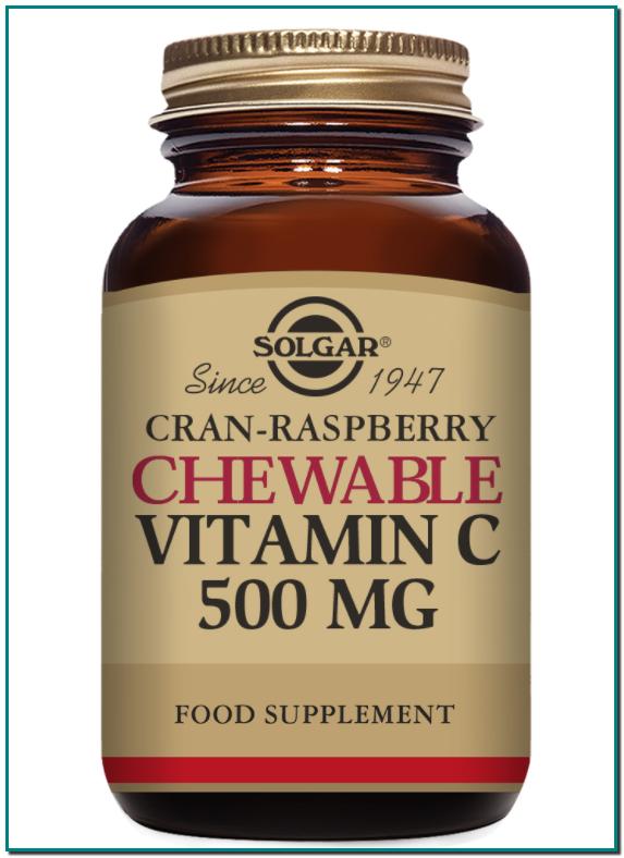 Vitamina C masticable 500 mg Sabor frambuesa Contribuye a un sistema inmunitario sano y aumenta el nivel de energía
