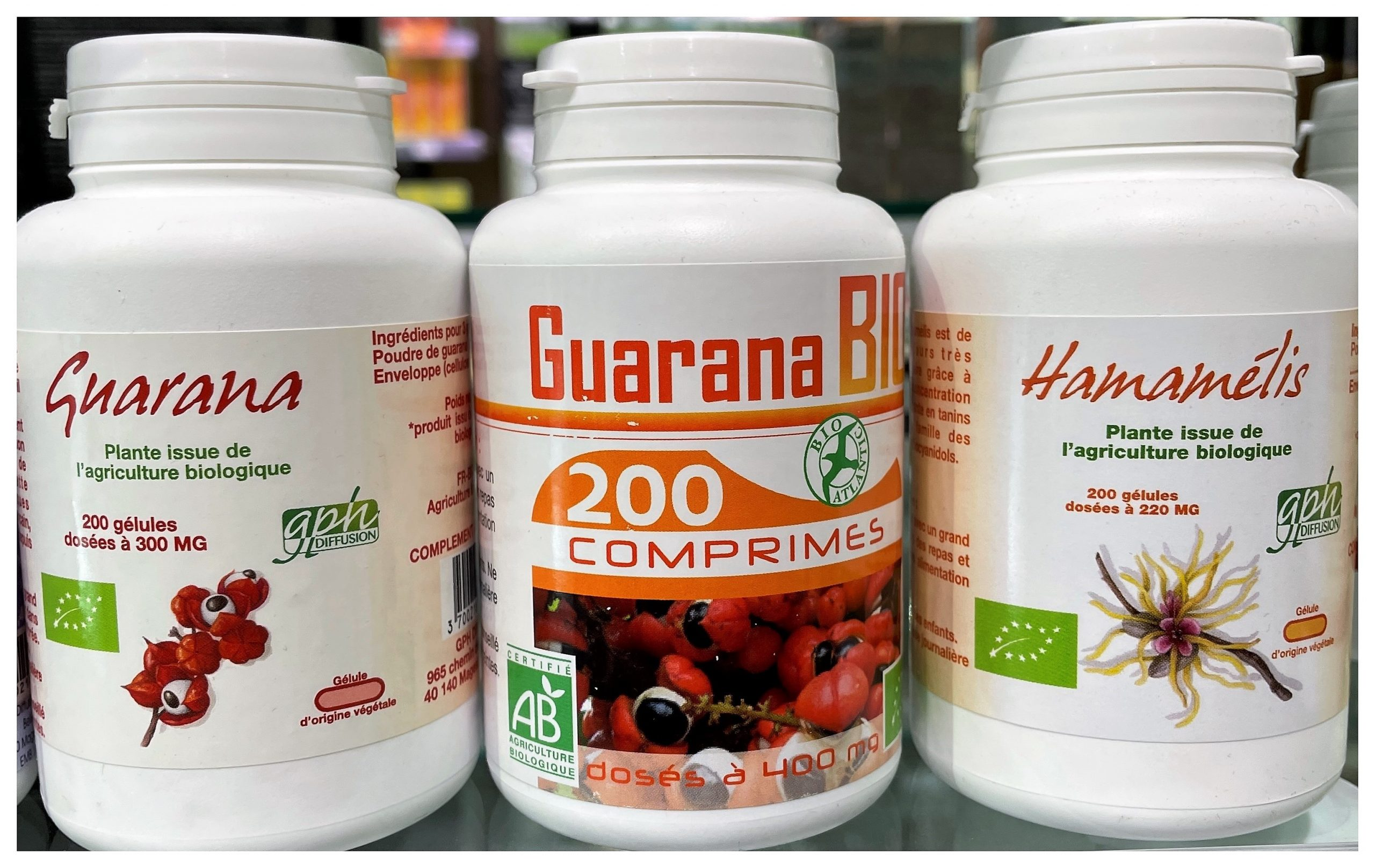 Guarana bio (Paullinia cupana) - 300 mg - 200 gélules vegétales Produit issu de l'agriculture biologiqueX