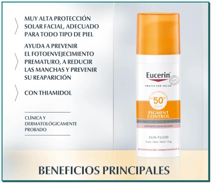 Eucerin Sun Fluid Pigment Control FPS 50+ Reduce y previene las manchas de hiperpigmentación gracias al principio activo exclusivo y patentado Thiamidol®