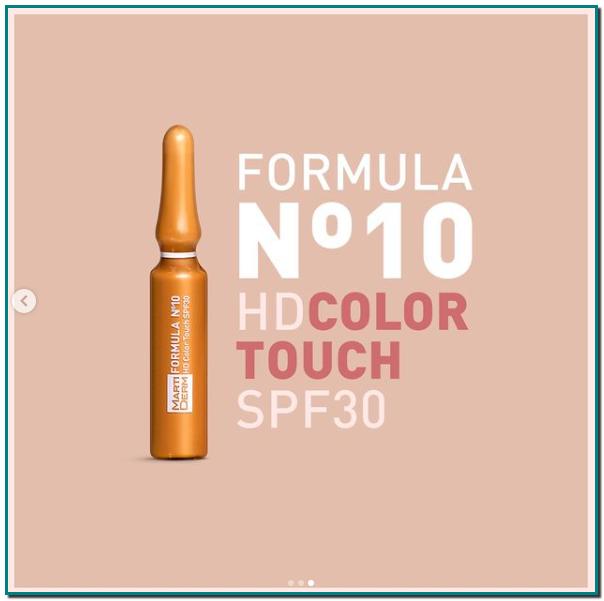 Martiderm ampolla Fórmula Nº10 HD Color Touch SPF30 es hidratante, antioxidante y reafirmante, unifica el tono de la piel gracias a sus pigmentos de color, protege de las radiaciones indoor & outdoor y de la contaminación