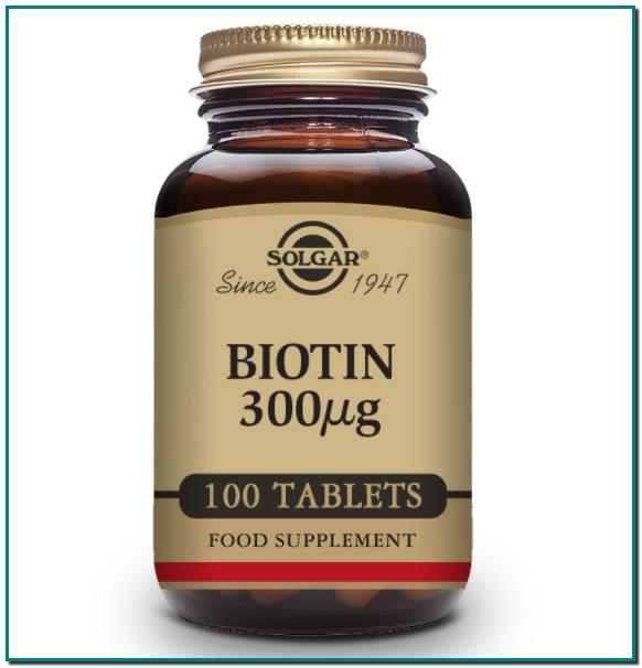 SOLGAR Biotina 300 µg - 100 Comprimidos Favorece al metabolismo normal Mantiene el cabello y la piel sanos Apto para veganos, vegetarianos, kosher y halal