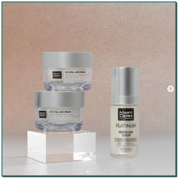 Por la mañana: Krono-Age Serum + GF Vital-Age Cream - Por la noche: Night Renew Serum + GF Vital-Age Night Cream