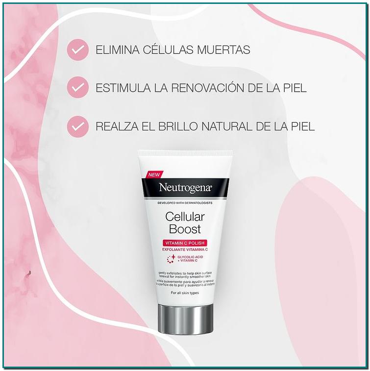 Neutrogena® Cellular Boost con Vitamina C que elimina las células muertas de la piel, promueve la renovación celular y deja tu piel más suave y uniforme al instante
