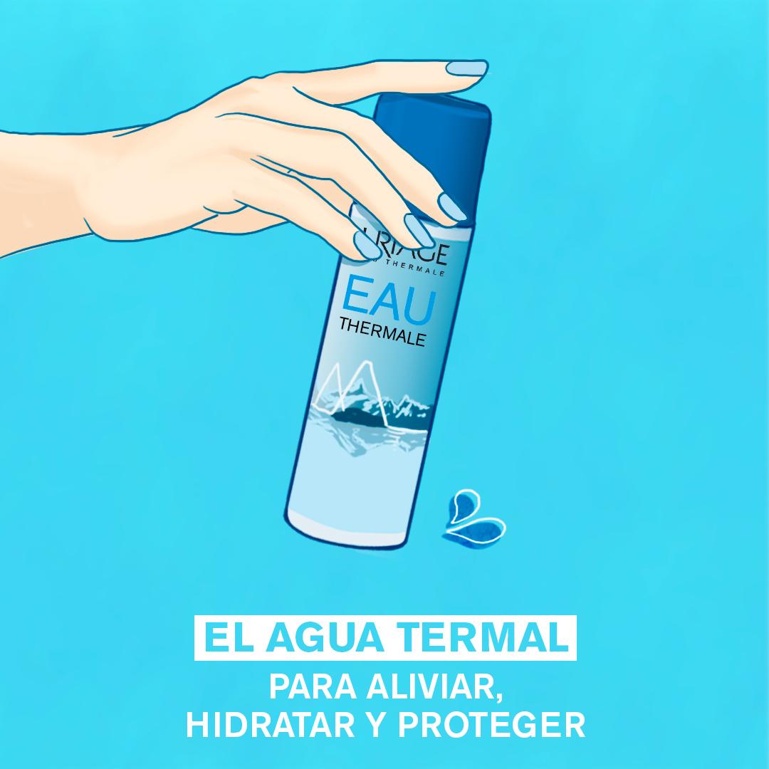 Pulverizar el Agua Termal de Uriage directamente sobre el rostro