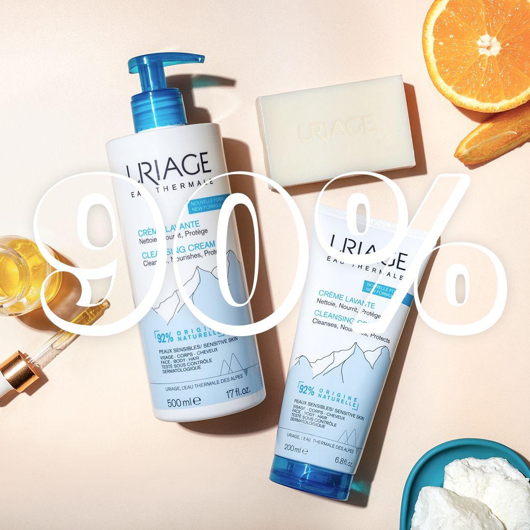 Crema Lavante URIAGE está hecha con un 90% de ingredientes naturales y es biodegradable