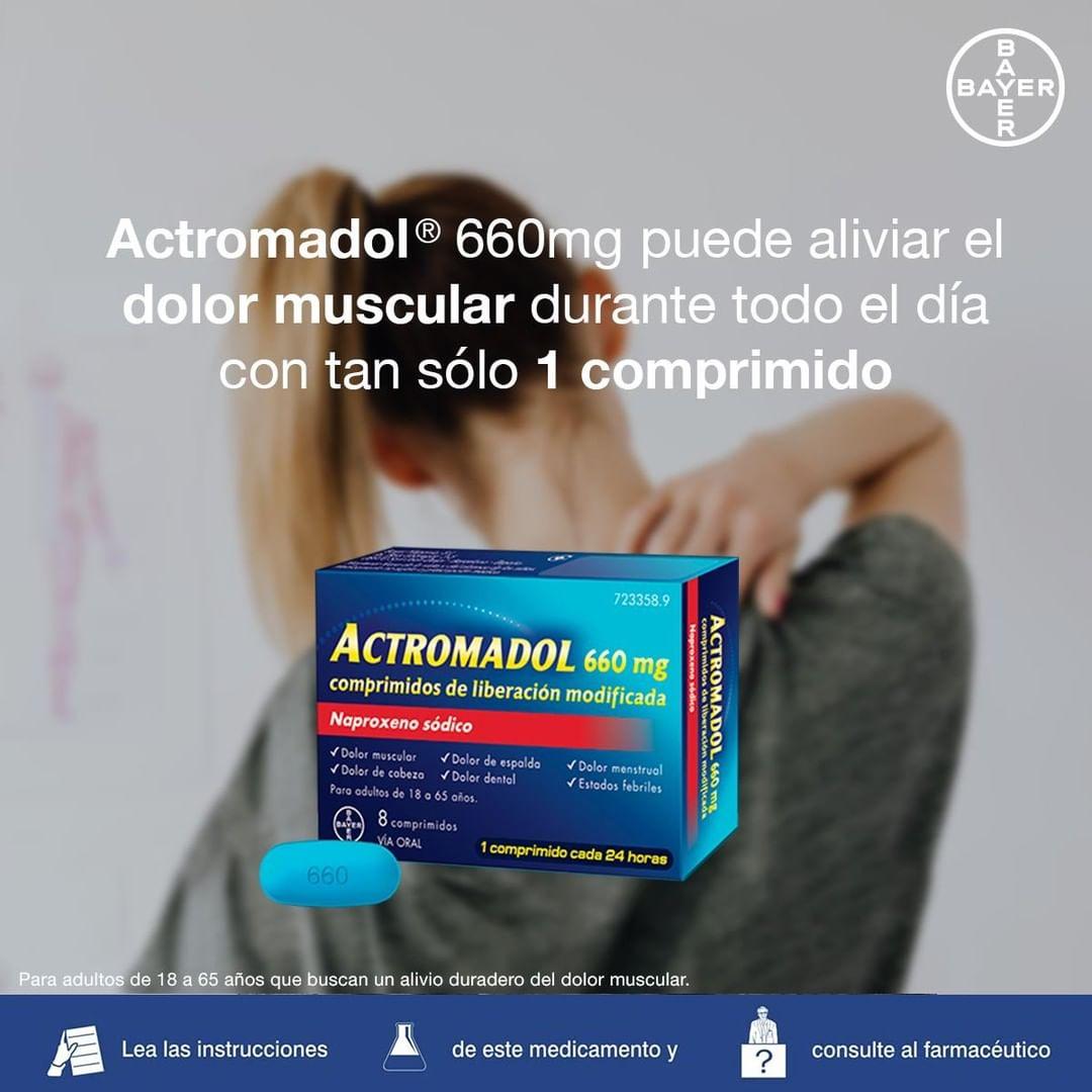 Actromadol® 660mg es el único analgésico sin receta con tecnología bicapa de liberación inmediata y prolongada ⚡