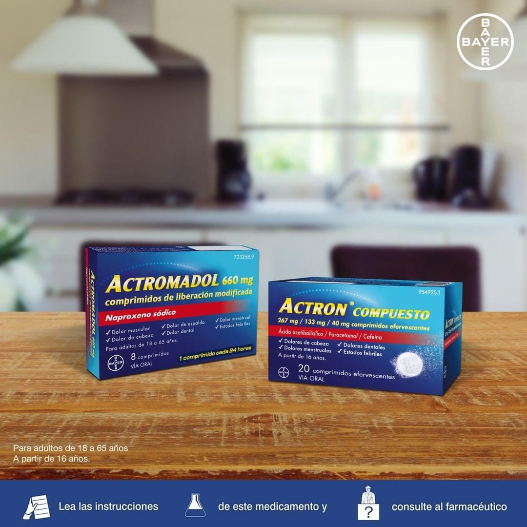 Conoces la diferencia entre Actron ® Compuesto y Actromadol ® Actron® Compuesto: alivia los dolores de cabeza de una forma eficaz Actromadol®: el único medicamento con naproxeno 660mg y alivia el dolor muscular durante 24h con tan solo 1 comprimido