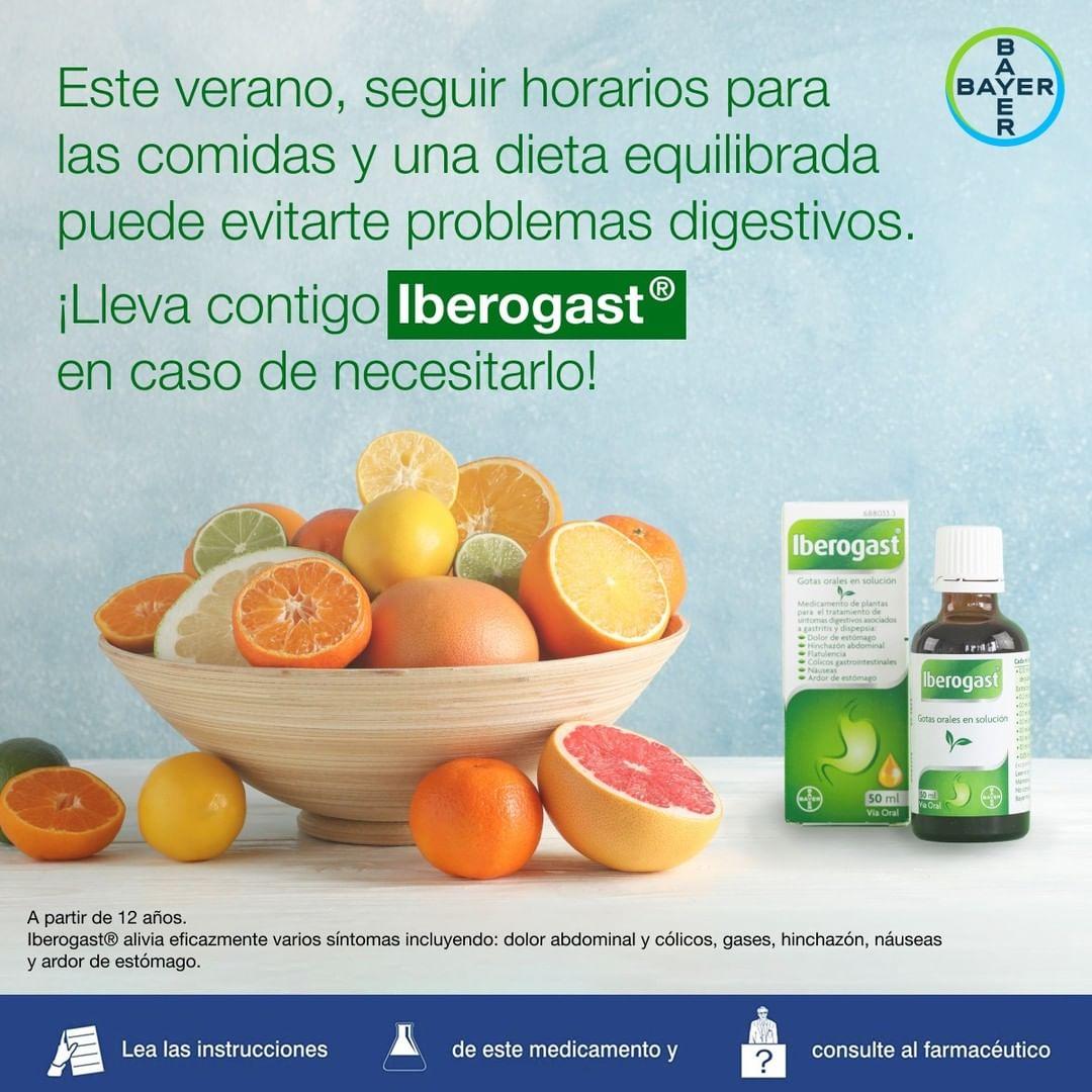 Lleva contigo Iberogast® en caso de necesitarlo sigue una dieta equilibrada cuando puedas para evitar la hinchazón y otros problemas digestivos.