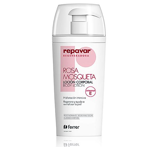 REPAVAR ® REGENERADORA LOCIÓN CORPORAL formulada para el cuidado diario de todo tipo de pieles. Enriquecida con aceite puro de rosa mosqueta (5%) y vitamina E